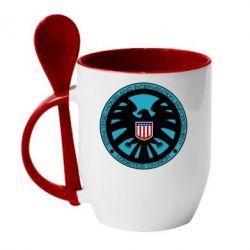 Кружка с керамической ложкой Логотип Щита - FatLine