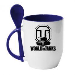 Кружка с керамической ложкой Логотип World Of Tanks