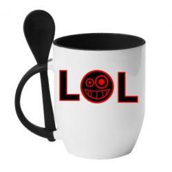 Кружка с керамической ложкой LOL - FatLine