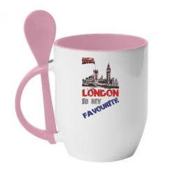 Кружка с керамической ложкой Лондон цветной