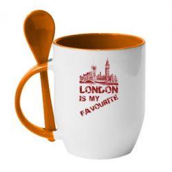 Кружка с керамической ложкой Лондон моноцвет