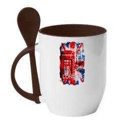Кружка с керамической ложкой Лондон