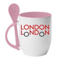Кружка с керамической ложкой London - FatLine