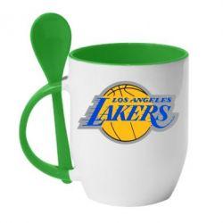 Кружка с керамической ложкой Los Angeles Lakers - FatLine
