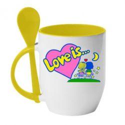 Кружка с керамической ложкой Love is... - FatLine