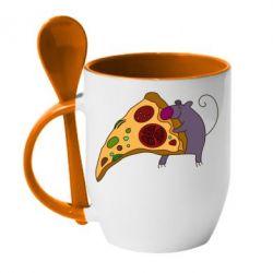 Кружка с керамической ложкой Love Pizza 2
