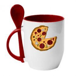 Кружка с керамической ложкой Love Pizza