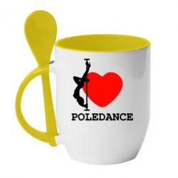 Кружка с керамической ложкой Love Pole Dance - FatLine