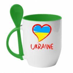 Кружка с керамической ложкой Love Ukraine - FatLine