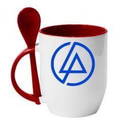Кружка с керамической ложкой LP logo - FatLine