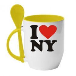 Кружка с керамической ложкой Люблю Нью Йорк - FatLine