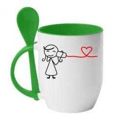 Кружка с керамической ложкой Любовное послание 2