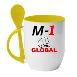 Кружка с керамической ложкой M-1 Global - FatLine