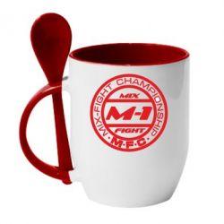 Кружка с керамической ложкой M-1 Logo - FatLine