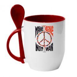 Кружка с керамической ложкой Make love, not war - FatLine