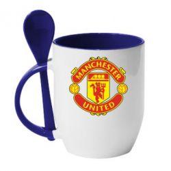 Кружка с керамической ложкой Манчестер Юнайтед - FatLine