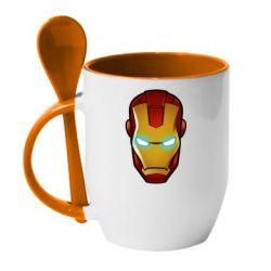 Кружка с керамической ложкой Маскаа Железного Человека - FatLine