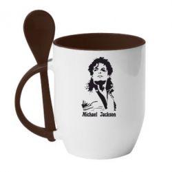 Кружка с керамической ложкой Майкл Джексон