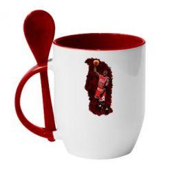 Кружка с керамической ложкой Майкл Джордан