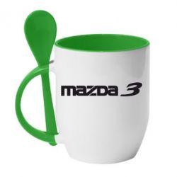 Кружка с керамической ложкой Mazda 3 - FatLine