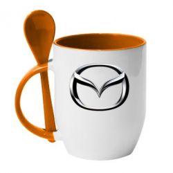 Кружка с керамической ложкой Mazda 3D Logo - FatLine