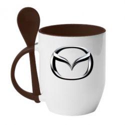 Кружка с керамической ложкой Mazda 3D Small Logo - FatLine