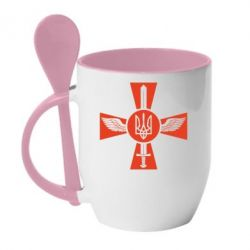 Кружка с керамической ложкой Меч, крила та герб - FatLine
