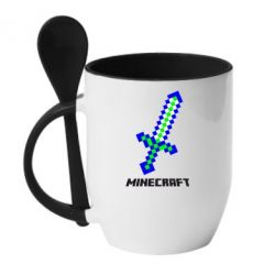 Кружка с керамической ложкой Меч Minecraft - FatLine