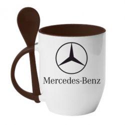 Кружка с керамической ложкой Mercedes Benz - FatLine