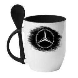 Кружка с керамической ложкой Мерседес арт, Mercedes art