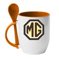 Кружка с керамической ложкой MG Cars Logo - FatLine