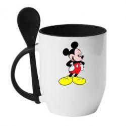 Кружка с керамической ложкой Микки - FatLine