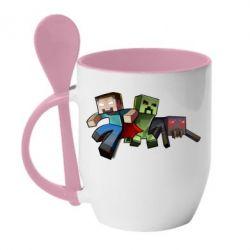 Кружка с керамической ложкой Minecraft Company - FatLine