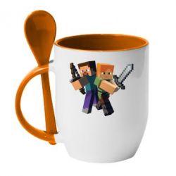 Кружка с керамической ложкой Minecraft Fan Art - FatLine