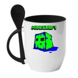 Кружка с керамической ложкой Minecraft Head - FatLine