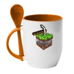 Кружка с керамической ложкой Minecraft Logo Сube - FatLine