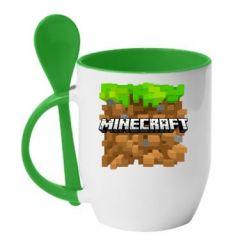 Кружка с керамической ложкой Minecraft Main Logo - FatLine