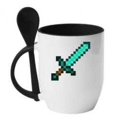 Кружка с керамической ложкой Minecraft меч - FatLine