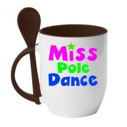 Кружка с керамической ложкой Miss Pole Dance - FatLine