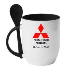 Кружка с керамической ложкой Mitsubishi Motors - FatLine