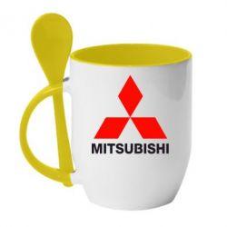 Кружка с керамической ложкой Mitsubishi small - FatLine