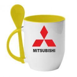 Кружка с керамической ложкой MITSUBISHI - FatLine