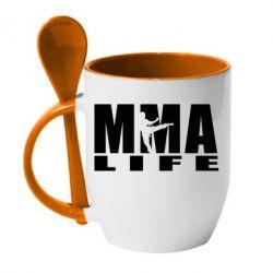 Кружка с керамической ложкой MMA Life - FatLine