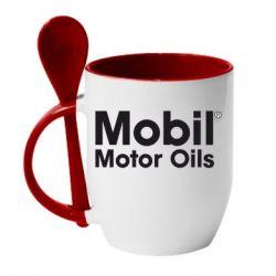 Кружка с керамической ложкой Mobil Motor Oils - FatLine