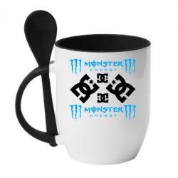 Кружка с керамической ложкой Monster Energy DC Logo - FatLine