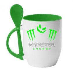 Кружка с керамической ложкой Monster Energy Halloween