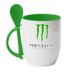 Кружка с керамической ложкой Monster Energy Logo - FatLine