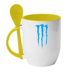 Кружка с керамической ложкой Monster Energy Stripes 2 - FatLine