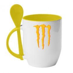 Кружка с керамической ложкой Monster Lines - FatLine