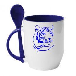 Кружка с керамической ложкой Морда тигра - FatLine